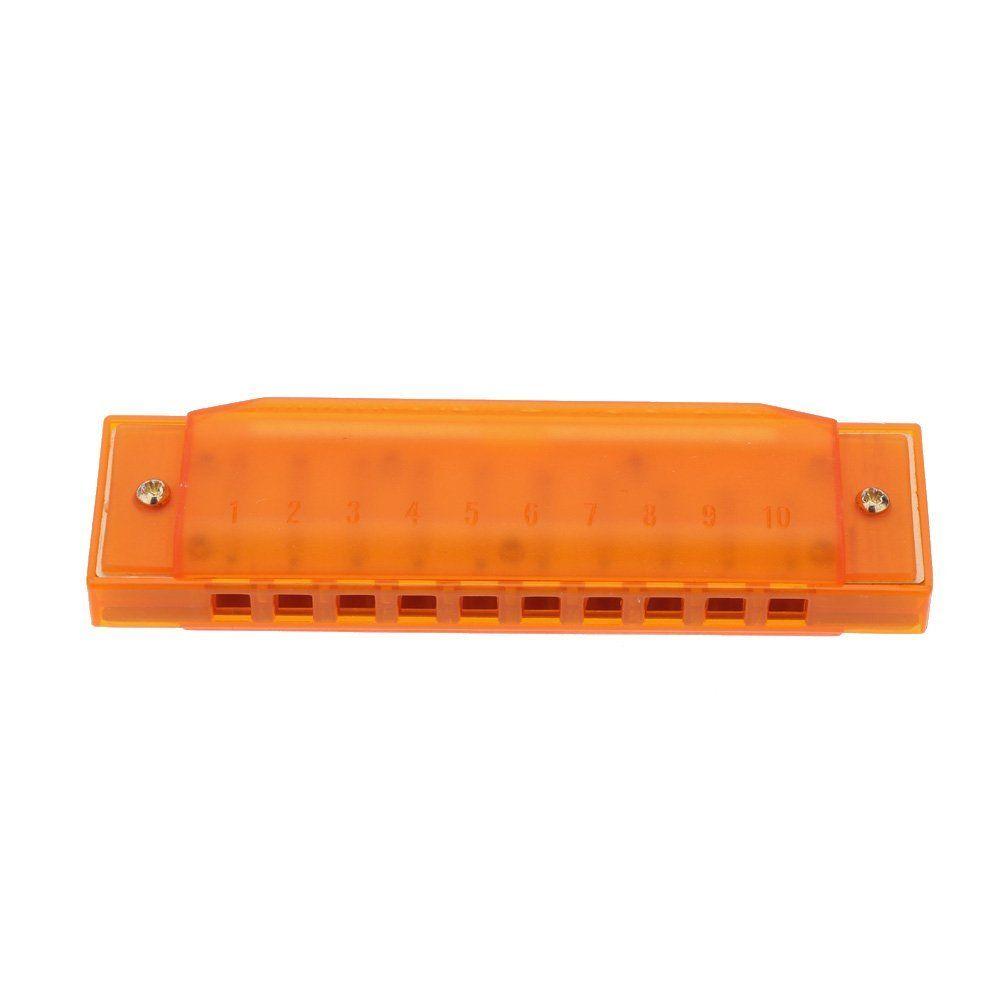 Arancione Diatonic Armonica 10 fori Blues Arpa Bocca di organo Chiave di C Reed Instrument con custodia Kid giocattolo musicale verde