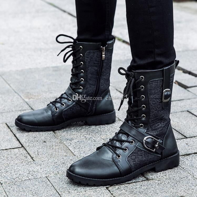 1153a490273 Autumn Punk Martin Boots Men Fashion PU Leather Lace Up Motorcycle Boots  Black Vintage High Top Buckle Shoes Man Wedge Booties Boots Sale From ...