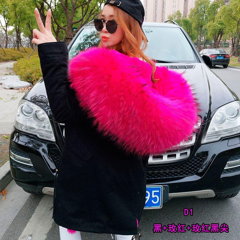 2018 nowa kurtka zimowa damska płaszcz naturalny prawdziwy szop futro kołnierz gruby ciepły streetwear kaptur motocyklowy parki odpinany luksus