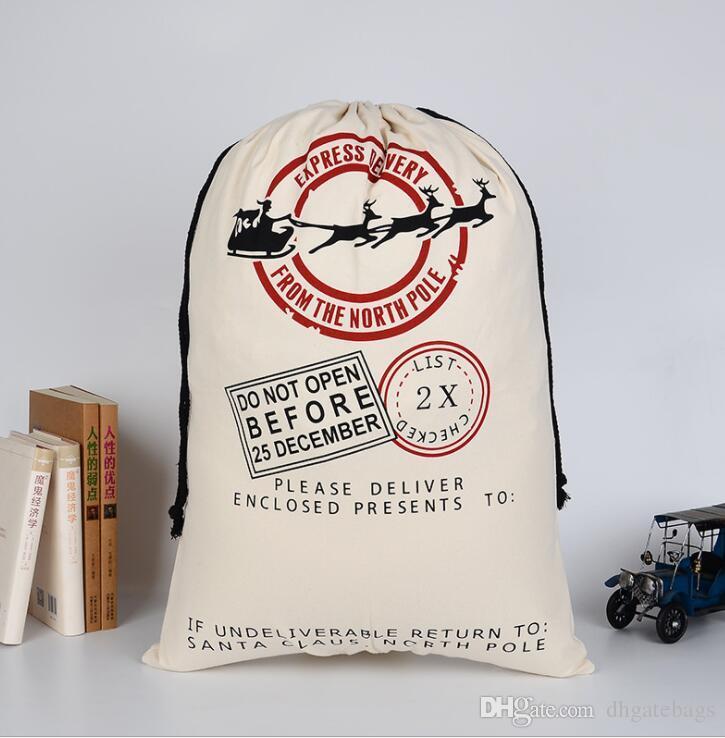 Sacchetti regalo di Natale 2018 Grande borsa di tela pesante biologica Borsa sacco di cordonatura di Babbo Natale con le renne Borse di Babbo Natale Sacco per i bambini