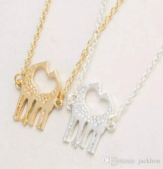 Симпатичные сердце любящих жирафов ожерелье простой прекрасный Близнец Baby олень лось ожерелье животных ювелирные изделия для пар