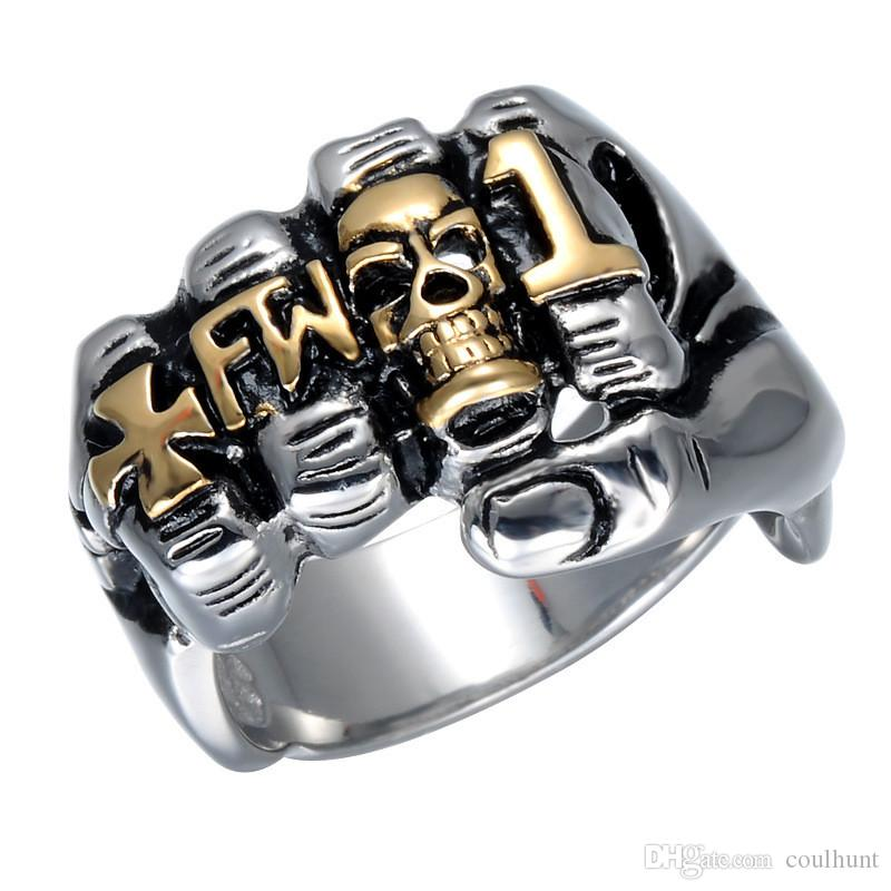 Cool Fist Finger Biker Ring Punk Gothic Gold Silver Stainless Steel Ring Viking Retro Grim Skull Fingers Gothic Ring For Man Jewelr