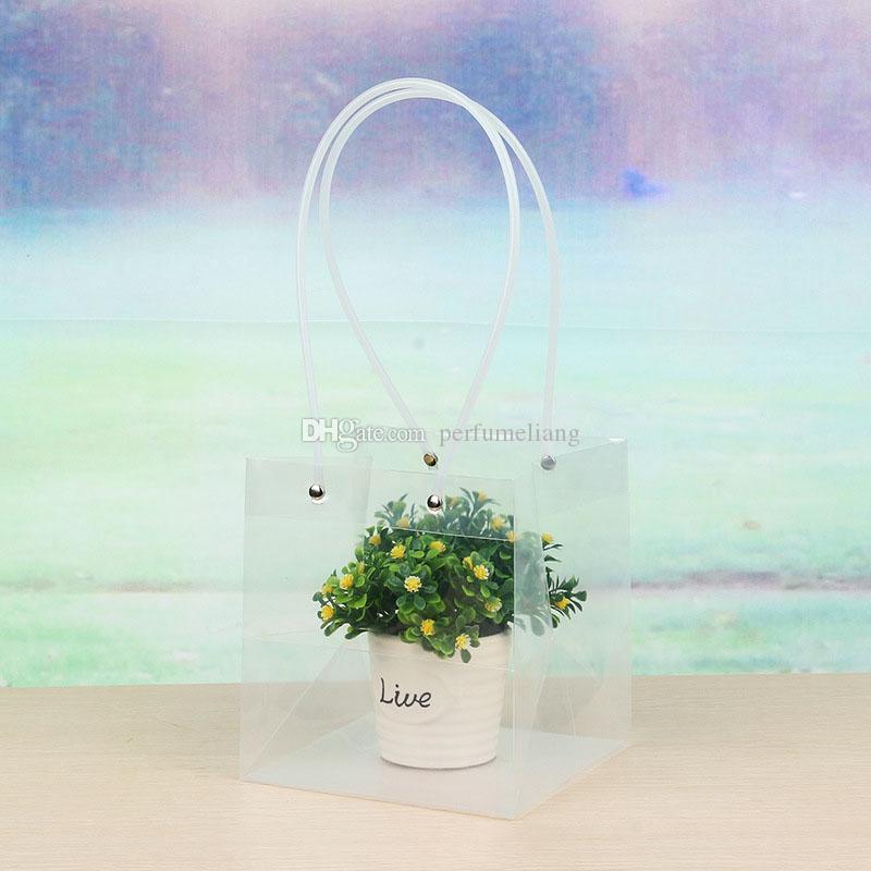 Прозрачные квадратные мешки с ПВХ веревка цветок подарочная упаковка торговый бутик перевозчик мягкая ручка ПВХ Pounch QW8699