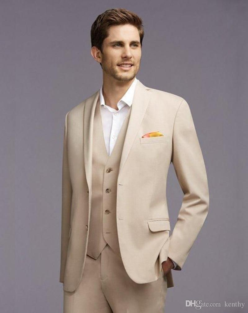 Beige Men Suits Simple Wedding Suits Costume Homme Custom Made Bridegroom Groomsmen 3Piece Slim Fit Formal Blazer Prom Tuxedos Best Man