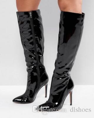 2018 Мода женщины колено высокие сапоги лакированные сапоги женщины острым носом пинетки тонкий каблук Черное зеркало кожаные сапоги дамы