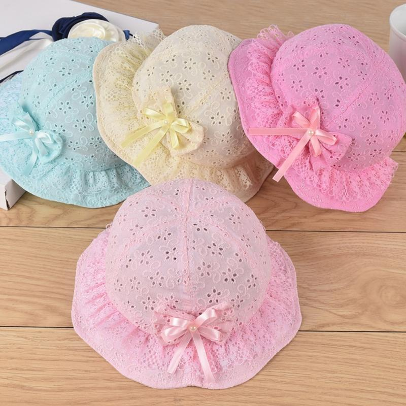 Baby Girl Broderie Anglaise Bow Lace Sun Cap Summer Hollow Bucket Hat 5-18months