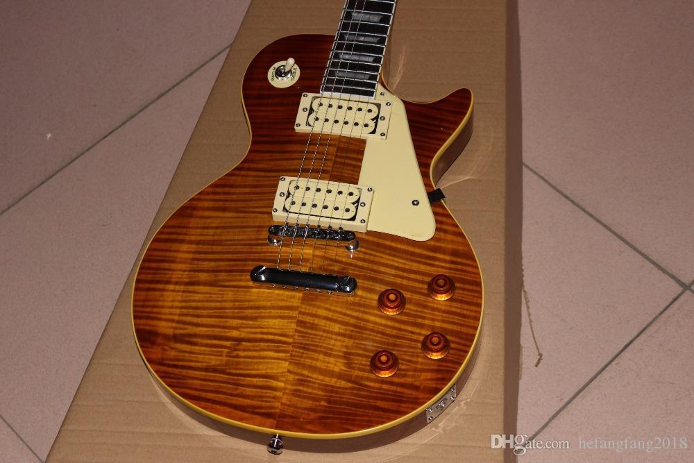 New Custom Shop chega. 1959 R9 costume padrão guitarra elétrica. Tiger Chama guitarra Top Mostra Real Photo