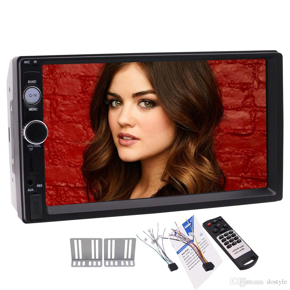 7'' Double Din Capacitive Touch Screen Car Stereo bluetooth car stereo MP5 Player FM Radio Audio car stereo player SD/USB/AUX/camera