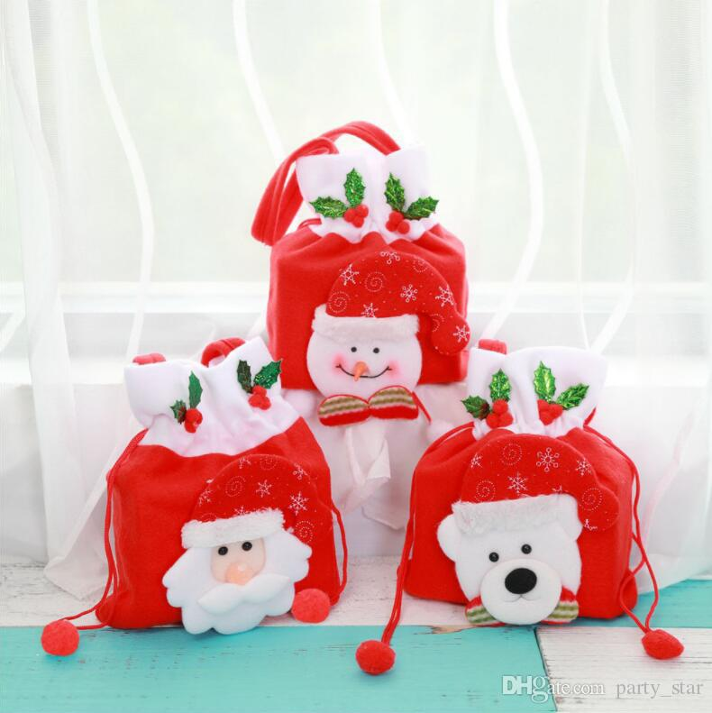 Hot Santa Claus Snowman Bear Christmas Candy Bags Outdoor Christmas Gift Bag Cartoon Hand Bag Christmas Decorations