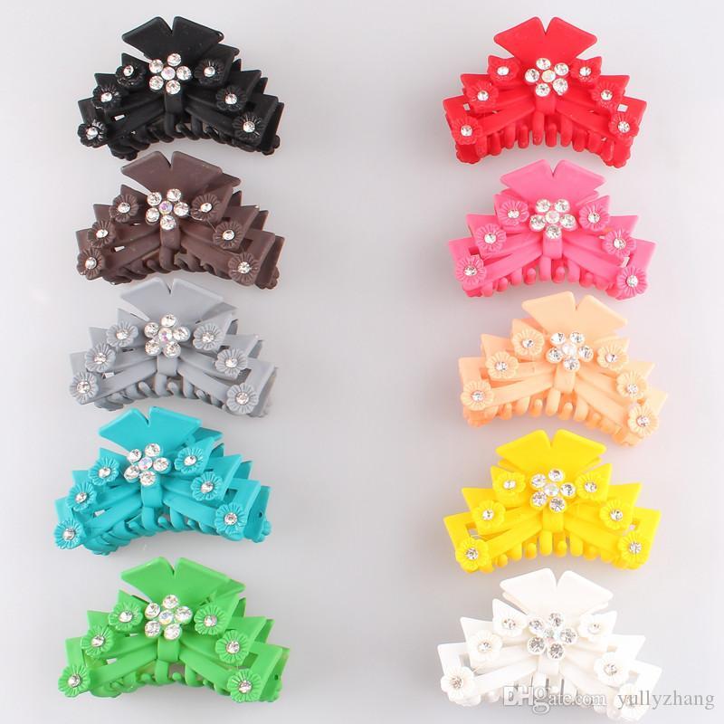 2018 New Women Plastic Hairpins Candy Color Hair Clip rhinestone Crab Hair Claws Girl crystal Hair Accessories Hairclip 6pcs/lot SYHC59