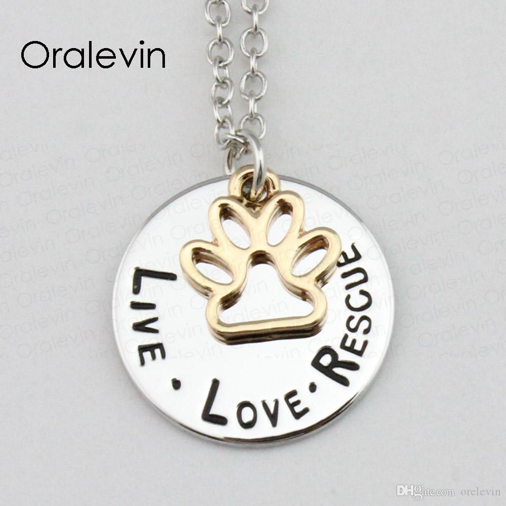 الجملة لايف الحب الإنقاذ pet عاشق الكلب باو الحيوان القرص سحر قلادة قلادة المجوهرات هدية 22 ملليمتر ، 20 قطعة / الوحدة ، # LN1139