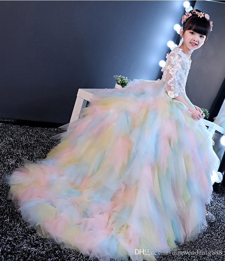 Rainbow Tulle Sleeves Train Applique Flower Girl Dresses Princess Dresses Girl's Pageant Dresses Custom Made Size 2-6 8 10 12 14 kf312001