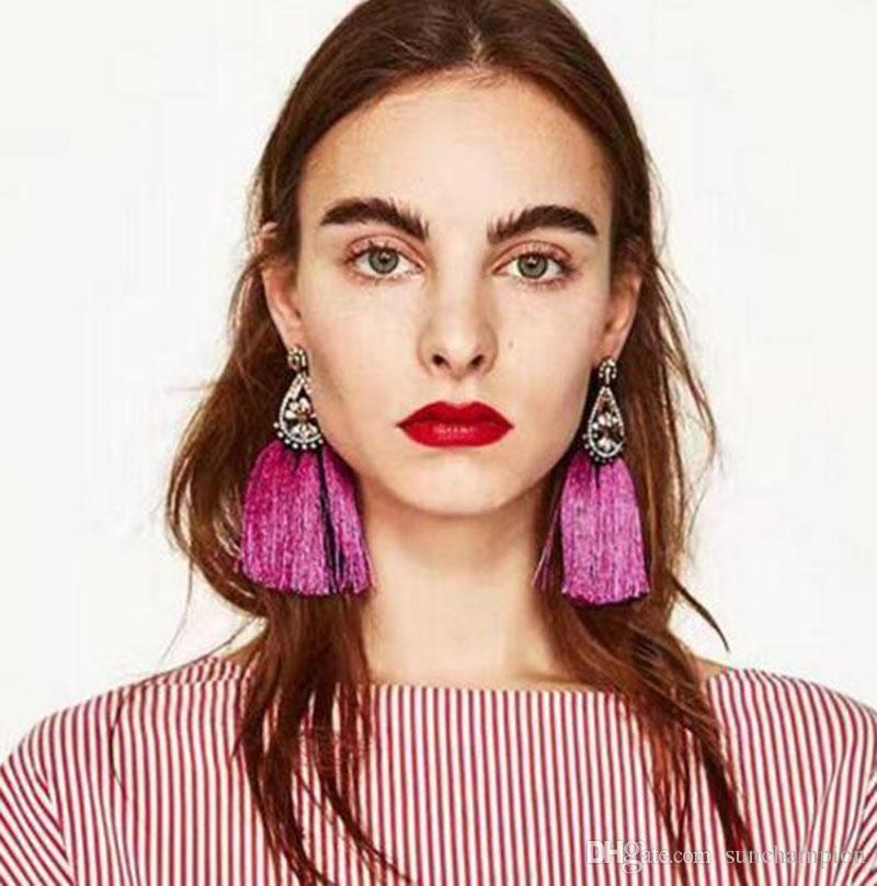 Lady imitation diamant ethnique Statemnt Tassel Dangle Hyperbole pour Pendants d'oreilles Party Photos Mode Femmes Dangles Multi Color