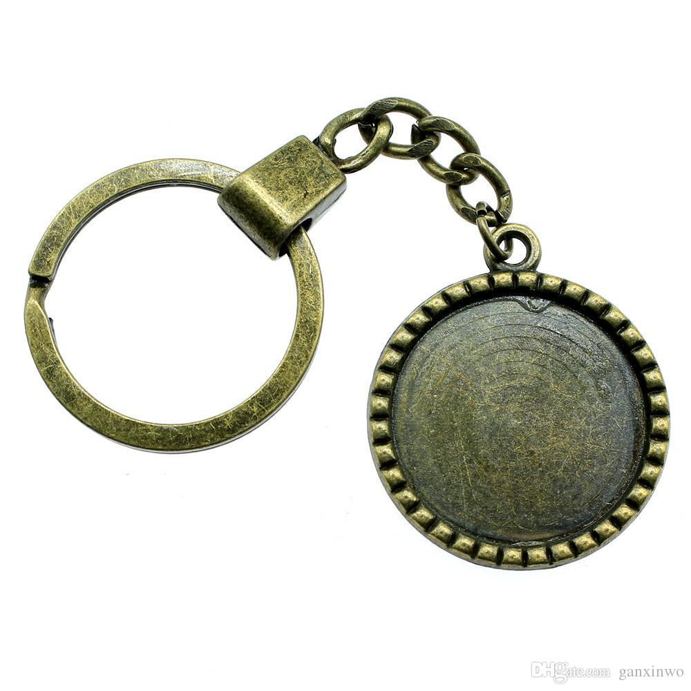 6 조각 키 체인 여성 열쇠 고리 커플 키 체인 키 간단한 로프 내부 크기 25mm 라운드 카보 숑 카메오 자료 트레이 베젤 빈