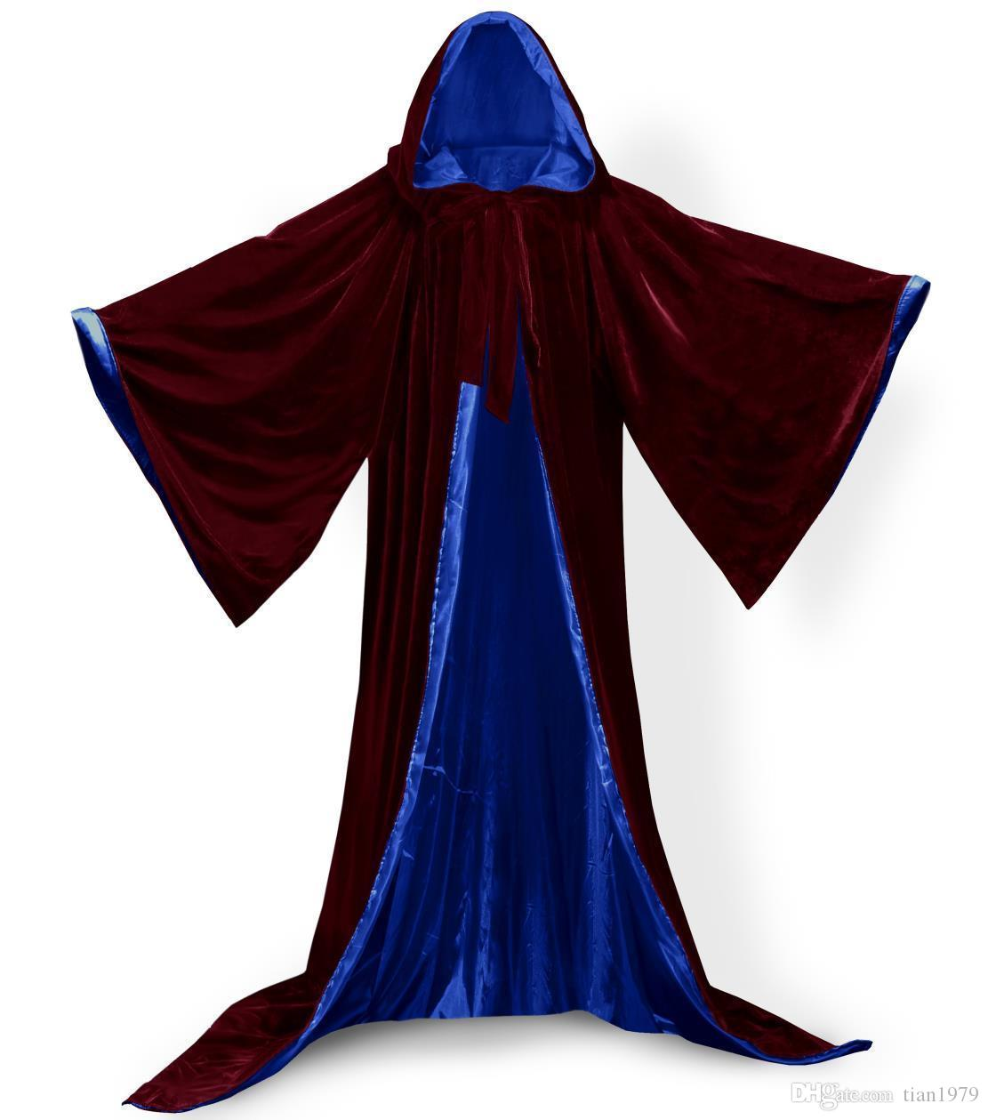Long Sleeves Velvet Hooded Cloak Wedding Cape Halloween Wicca Christmas Hooded Cape Winter Wedding Cloak For Kids Junior Bridesmaid Warm Fur
