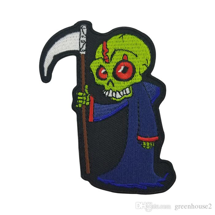 Cute Reaper Skull Iron on Patch - 3x3.7 inch Applique Clothing Embroidery Patch Free Shipping