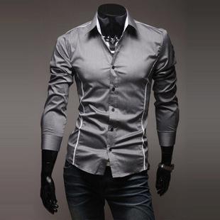 남성 셔츠 브랜드 봄 남성 긴 소매 셔츠 캐주얼 히트 컬러 슬림 피트 블랙 남성 드레스 셔츠 XXL Camisa Masculina