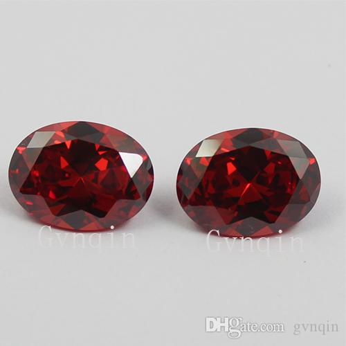 100pcs/lot Free shipping 3x5mm-12x16mm Cubic zirconia Machine Cut garnet oval loose CZ stones from China Wuzhou