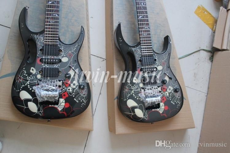 Chitarra elettrica all'ingrosso di alta qualità JEM 7V nero e modello della tastiera, trasporto libero