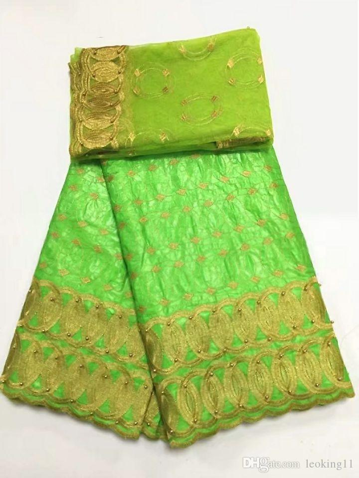 5Y Beautiful lemon green african Bazin brocade lace fabric and 2Y french net lace embroidery with beads for dress BZ1-1