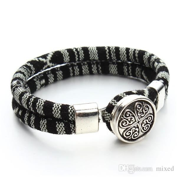 2016 новый чешский браслеты мода хлопок основные шнуры Тибетский серебряный Клевер Оснастки кнопка браслет ювелирные изделия для женщин подарок F2824