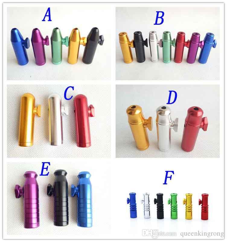 알루미늄 금속 파이프 총알 로켓 모양의 스너프 Snorter 냄새없는 담배 담배 손 흡연 파이프 도구 6 스타일