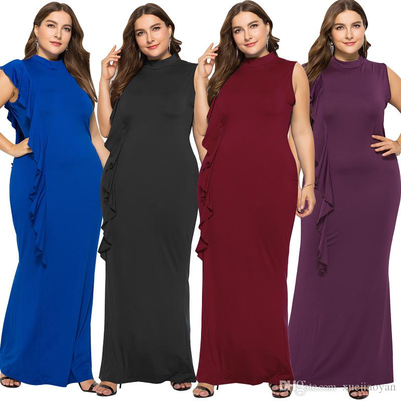 2019 Wholesale Women\'S Maxi Dresses Plus Size For Fat Ladies New Design  2018 Winter Street Wear Ladies Clothing Occasion Wear Long Gowns From ...