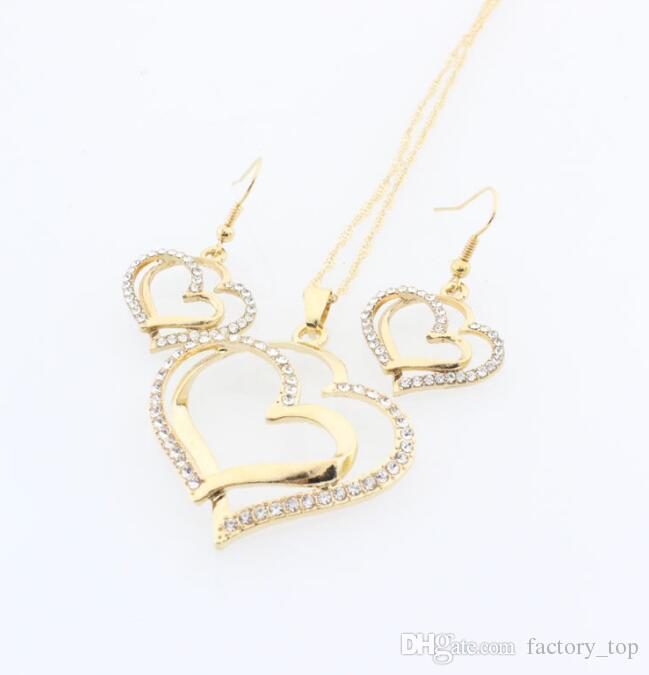 Crystal Heart Necklace Set Valentine Wedding Diamond Necklace Earring Set Fashion Luxury Crystal Charm Gold Plated Silver Jewelry