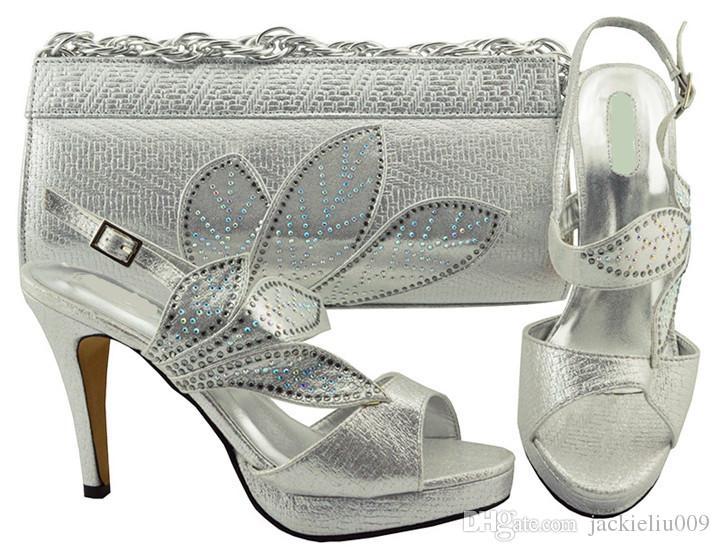 Populares folhas de design de prata wemon bombas com rhinestone sapatos africanos jogo bolsa combinada para o vestido MM1068, calcanhar 10.5 CM