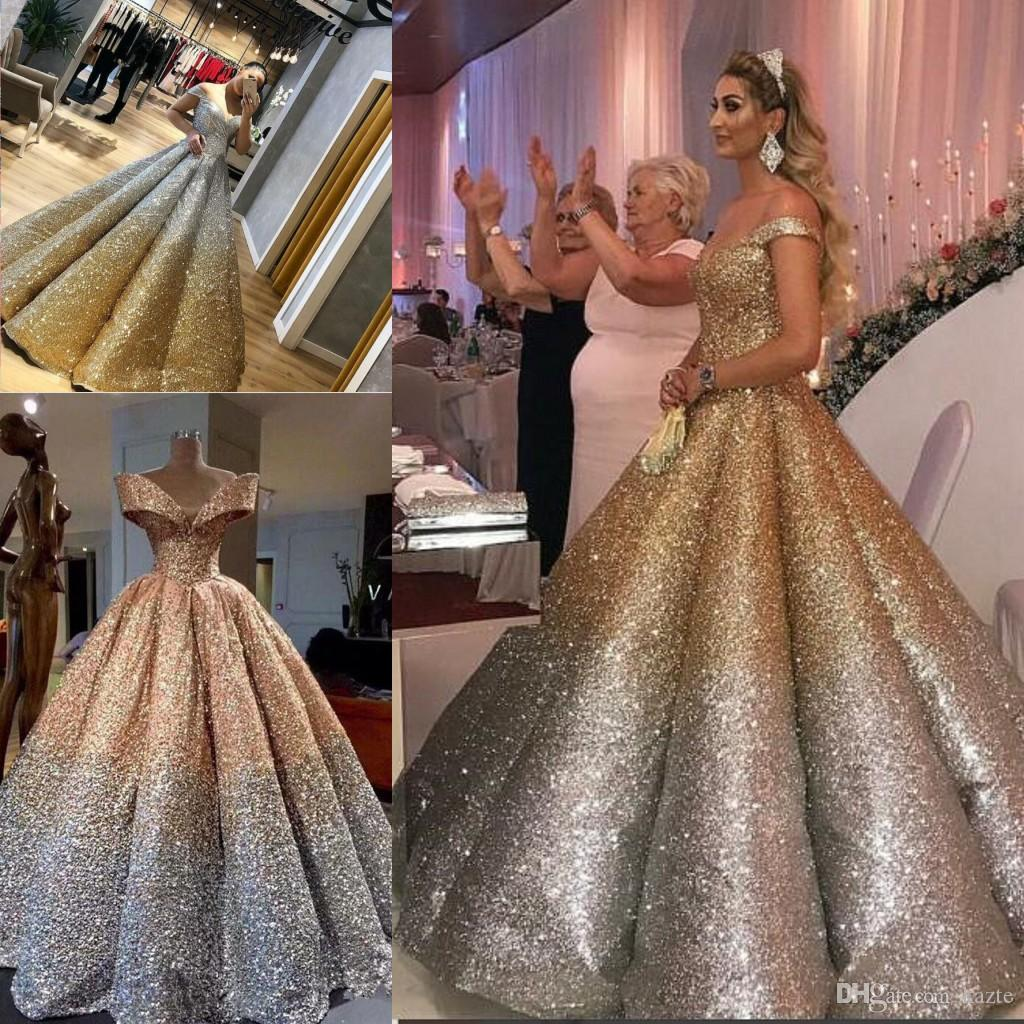 Lebanon Luxury Prom Gowns Shiny Mix Sequined Long Empire Abiye Formal Dress  Robe De Soiree Puffy Skirt Dubai Evening Dress 10 Abendkleider Prom