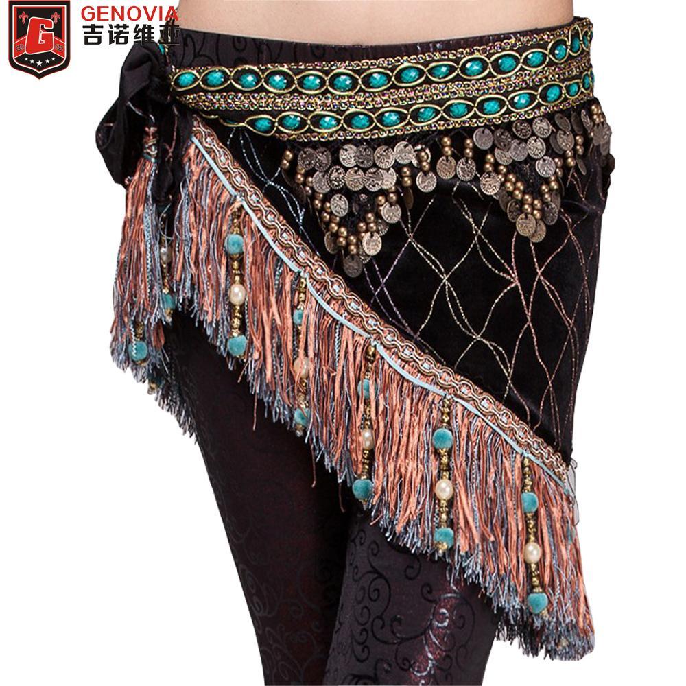 5fac58f00 Women Belly Dancing Classical Fringe Tribal Hip Scarf Skirt Wrap Velvet Waist  Chain Belly Dance Hip Scarf Tassel Belt Gift