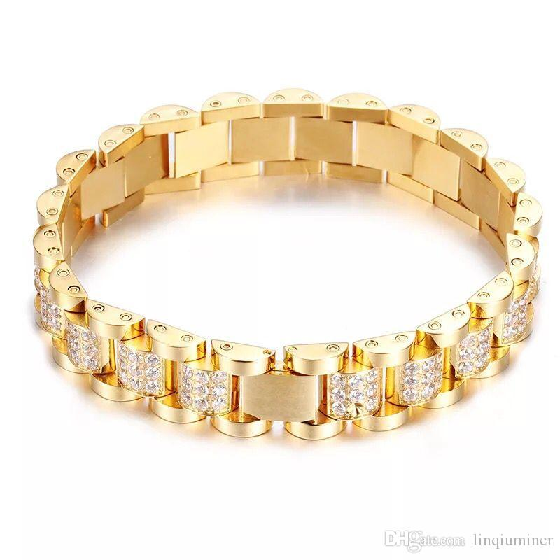 18K GOLD GEMSTONE stainless steel bracelet hip hop jewelry for free shipping