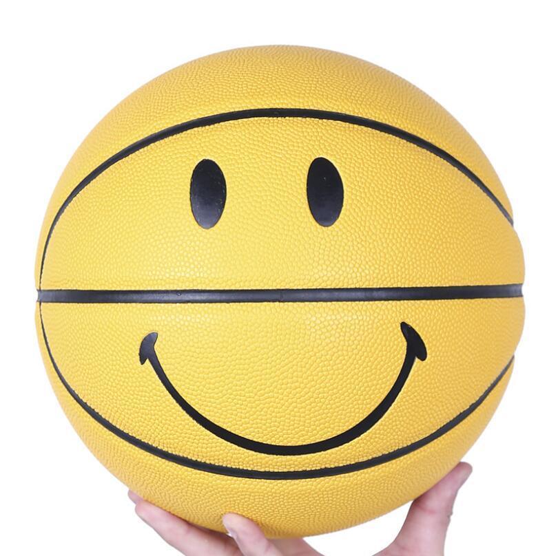 Acheter Vente Chaude Nouveau Sourire Visage Ballon De Basket Ball En Pu Matériau Officiel Taille 7 Basketballs Garçon Cadeau D Anniversaire De 44 61