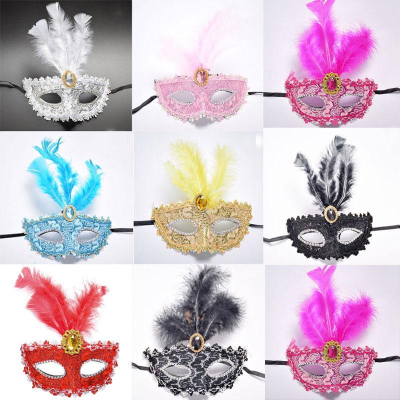 2018 Nuove donne ragazze Venezia principessa piuma maschera Bar Night Club Performance Mask Halloween Dance Party Supplies
