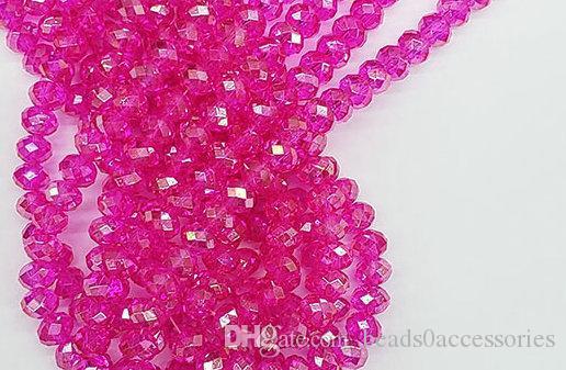 500pcs / LOT superiore rosa caldo 4 MISURE # 5040 sfaccettato perline di cristallo di vetro RONDELLE rotella monili che fanno fai da te