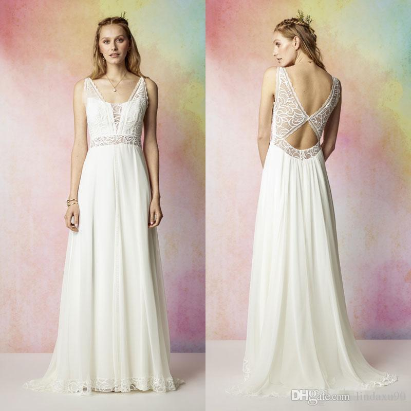 2018 Rembo Styling Beach Lace Wedding Dresses Deep V Neck A Line Backless Floor Length Chiffon Bridal Gowns
