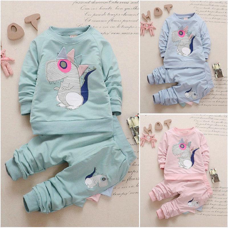 Ropa de bebé niños primavera otoño ropa de bebé conjunto algodón Niños ropa infantil dinosaurio Trajes de manga larga 2pcs Conjunto de chándal de bebé