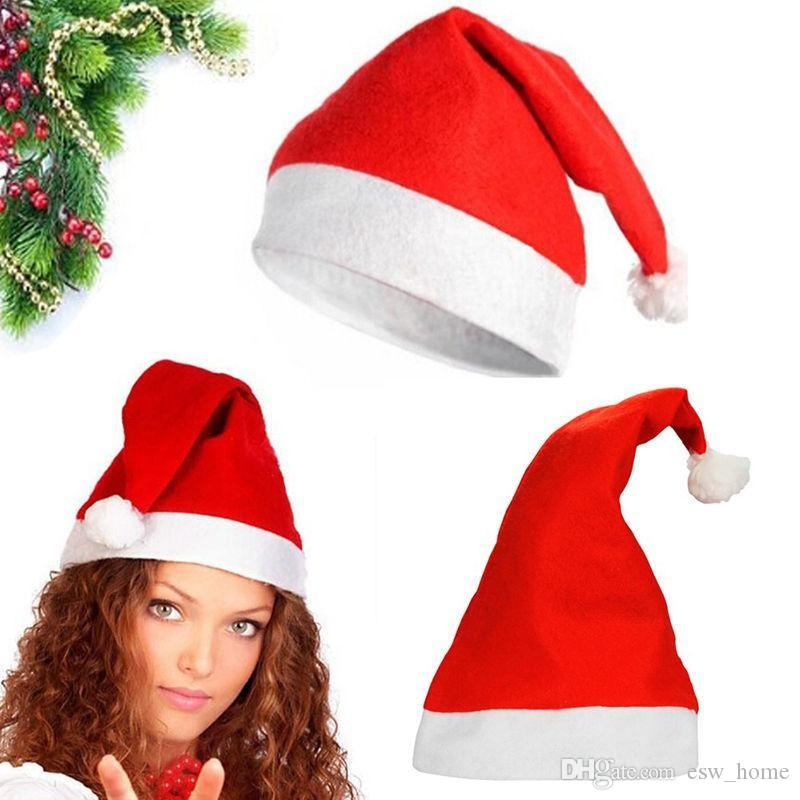 Red Santa Claus Hat Ultra Soft peluche Natale Cosplay Cappelli Decorazione natalizia Adulti Cappellini natalizi