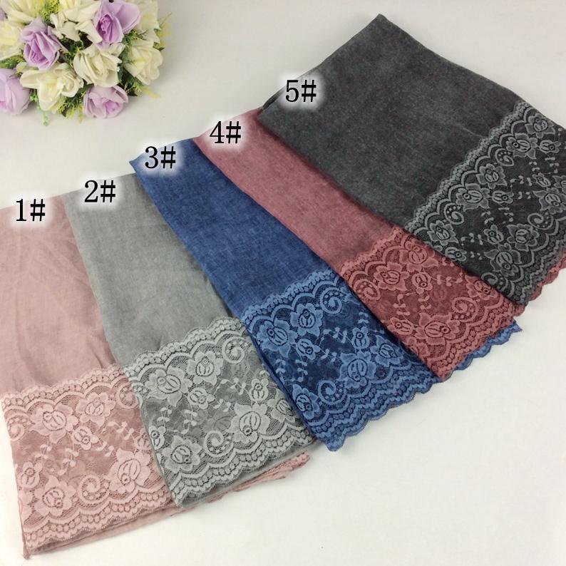 2018 Spring Fashion Polyester Tie Dye Women Scarf Plain Cotton Floral Lace Hijab Muslim Hijab Head Wrap 10pcs/lot