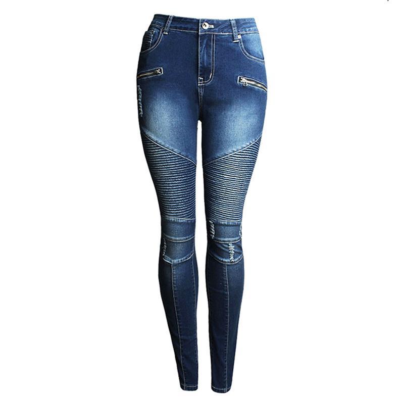Acheter Gros Voobuyla Skinny Biker Jeans Femmes Salut Rue Ripped Rider Denim Jeans Moto Runway Slim Fit Lavé Moto Denim Pantalon Joggers De $38.19 Du