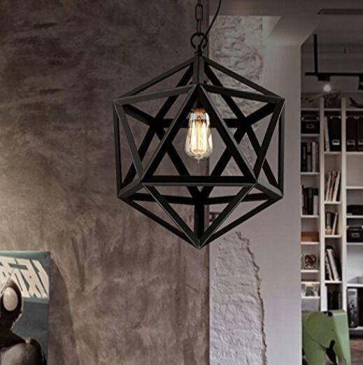 Restoration Pendant Lamps Hardware Vintage Loft Lights Diamond Steel Polyhedron Lamp Bar Living room E27 Bulb