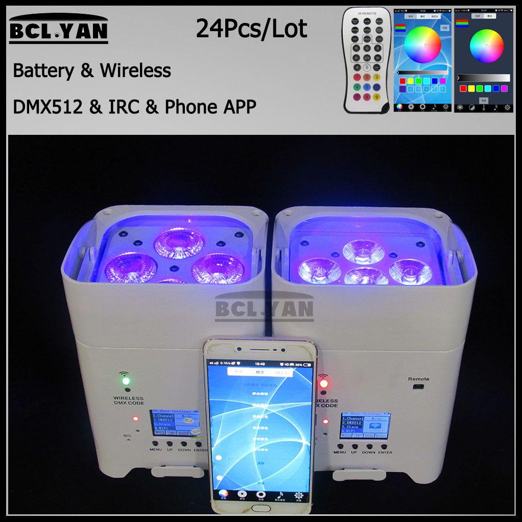 24XLOT DJ Disco Party Wedding Lighting HEX- 4/ 6 *18W 6in1 RGBAW UV Battery Operated Wireless LED Par Light APP Mobile