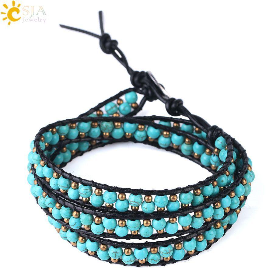 CSJA Women Leather Braided Bracelets Turquoise Gemstone Beads Three Wrap Bracelet Wristband Handmade Bohemian Jewellery Christmas Gift S118