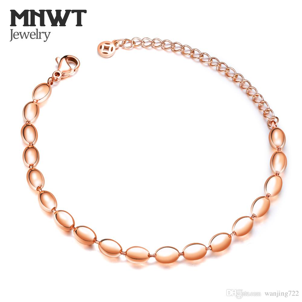 MNWT Oval Beads Steel Ball Women Bracelet Fashion Jewelry Bead Titanium Steel Rose Gold Color Bracelets Gifts Adjustable