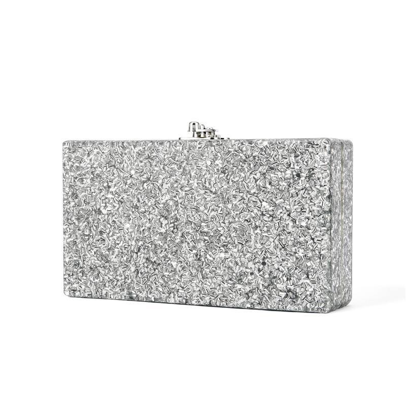 New Women Sparkle Shimmer  Evening Clutch Box Shoulder Bag Bridal Purse Handbag
