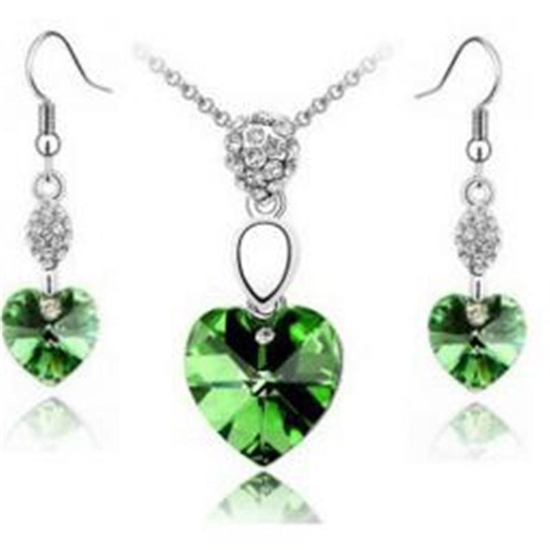 Cuore di cristallo stabilito dei monili d'argento gioielli con diamanti collana e orecchini di cristallo di modo Normativa insieme dei monili i regali di nozze