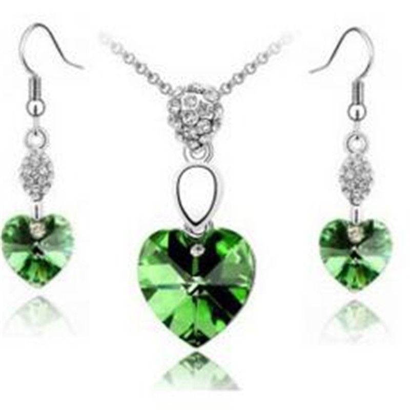 Corazón cristalino determinado de la joyería de plata de la joyería del diamante con el collar y los pendientes del cristal de la manera Declaración de joyería conjunto regalos de boda