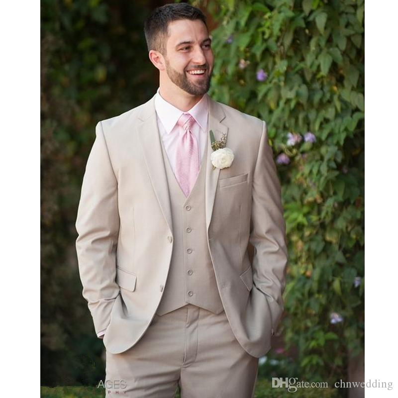 Men Suits for Wedding Custom Slim Fit Champage Tuxedos Terno Masculino 3 Piece(Jacket+Pants+Vest) Groomsmen Best Man Suits Prom Wear Blazer
