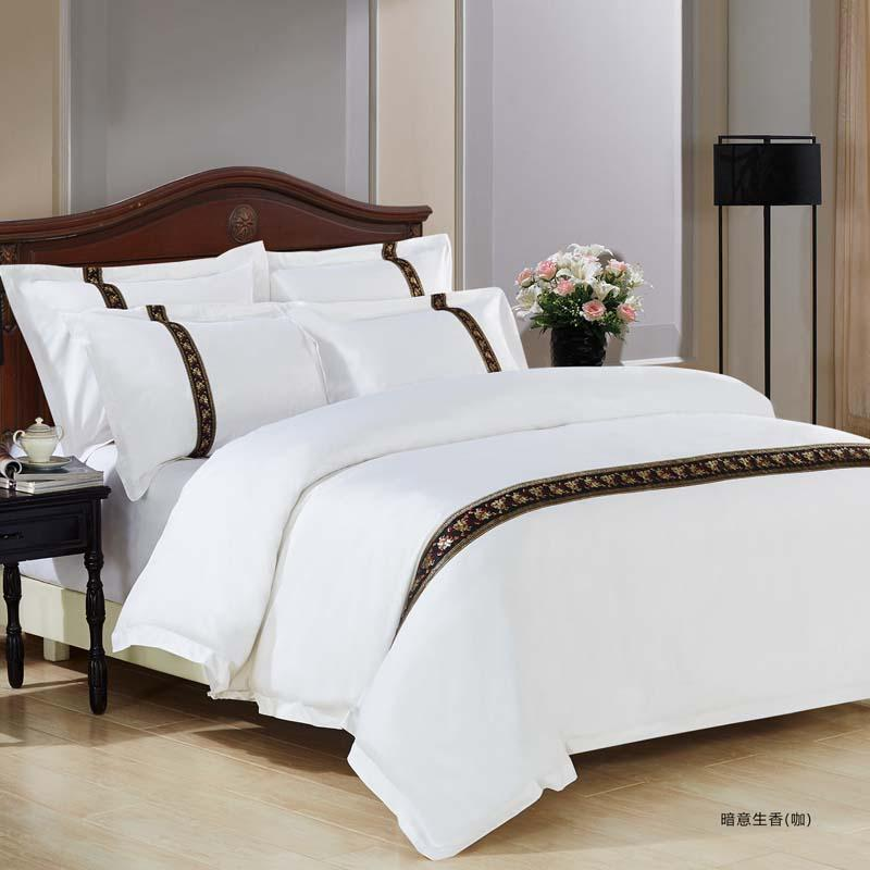 617a82cac5 100% Cotton home Hotel Bedding Set sWhite Luxury Satin Strip Bed Line Four  pieces sheet duvet cover&2 pillowcases