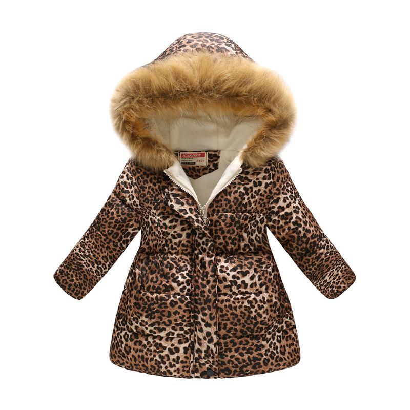 hot sale online bfb4f 44bce Nuova peluche per bambini moda retrò con stampa leopardata ragazza piumino  snowsuit ragazzo giacca invernale caldo abbigliamento per bambini